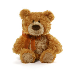 11 in height - Flynn tan teddy bear provides timeless design with a luxury touch. Distinctive rose-swirl pattern plush and a chi